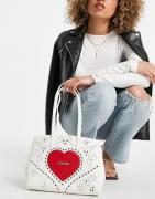 Love Moschino - Hvid tote-taske med stort hjertelogo