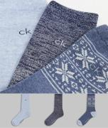 Calvin Klein - Pakke med 3 par sokker med Fair Isle-mønster i blå og g...