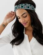 ASOS DESIGN headband with twist front in green gingham print - Green