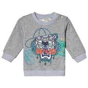 Kenzo Grey Baseball Tiger Embroidered Sweatshirt 6 months