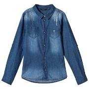 Guess Blue Light Wash Studded Denim Shirt 7 years