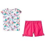 Guess Jungle Print T-shirt og Shorts Pink 6-9 months