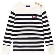 GANT Stribet Sweater Navy og Cream 122-128cm (7-8 years)